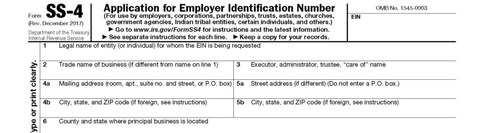 Irs Form Ss 4 Application For Ein Updated For Companies